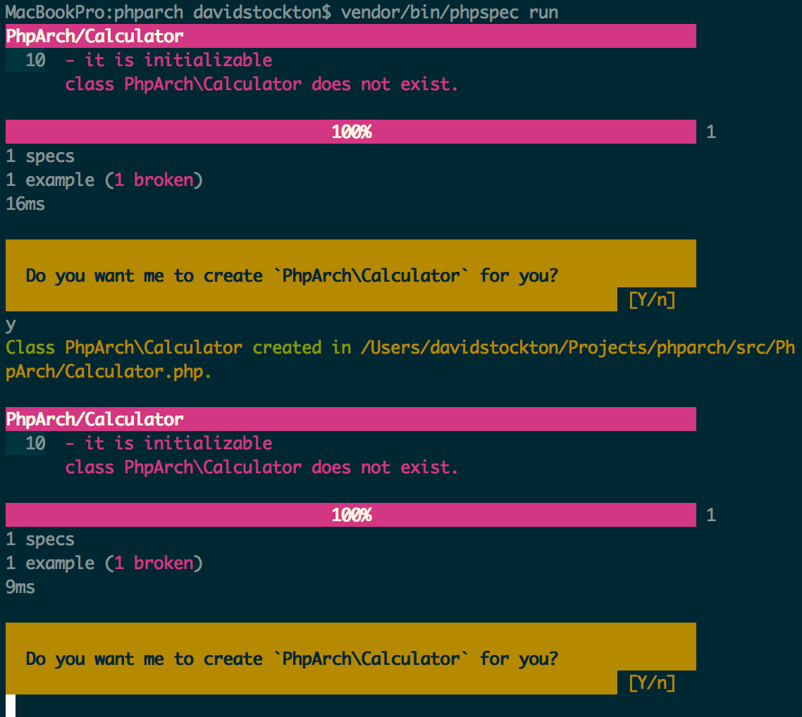 Figure 2: Running phpspec on our new spec