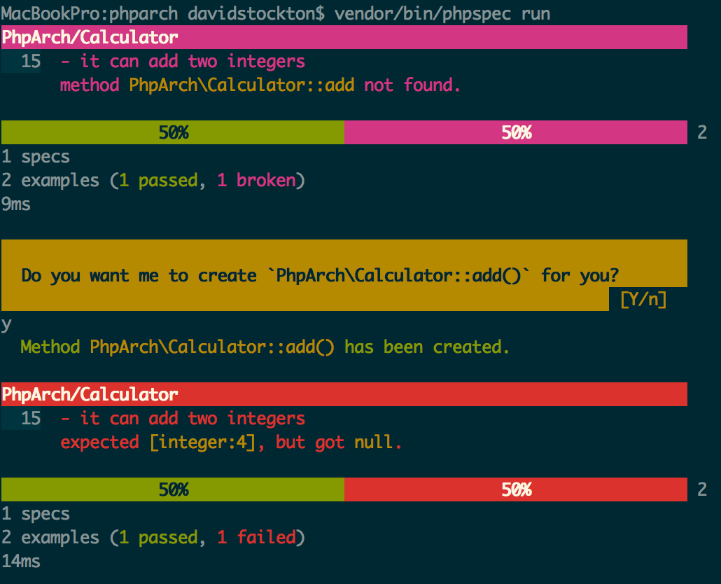 Running phpspec on our first non-generated spec