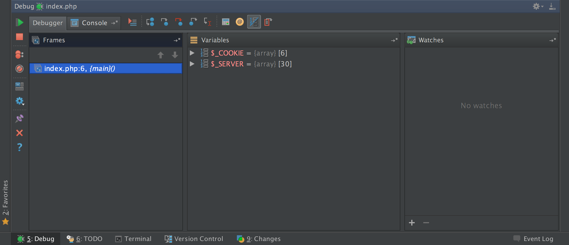 Figure 6: Debugging Interface in PHP Storm