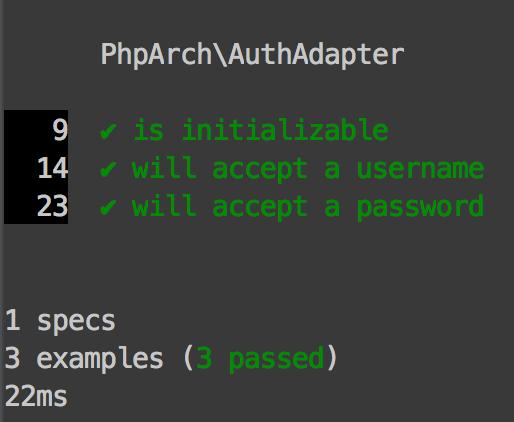 Figure 3 - Successful phpspec run