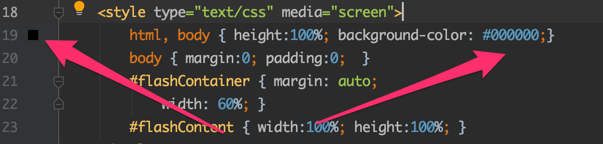 PHPStorm shows colors for hex colors in code